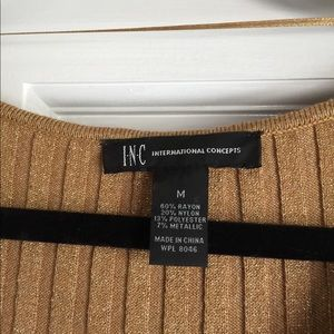 Inc. Gold glitter sweater dress
